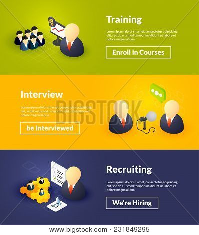 Training Interview And Recruiting Banners Of Isometric Color Design, Concepts Vector Illustration Fo