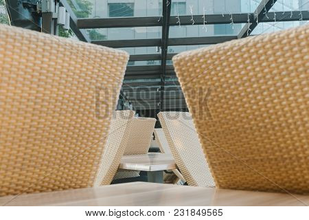 Chairs And Table Side Near The Pool Ideal For Travel And Vacation Concept
