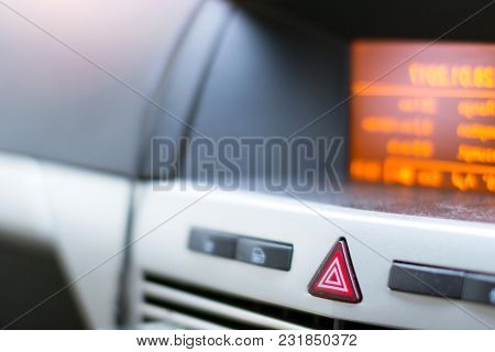 On-board Car Computer. Buttons Of Alarm And Lock