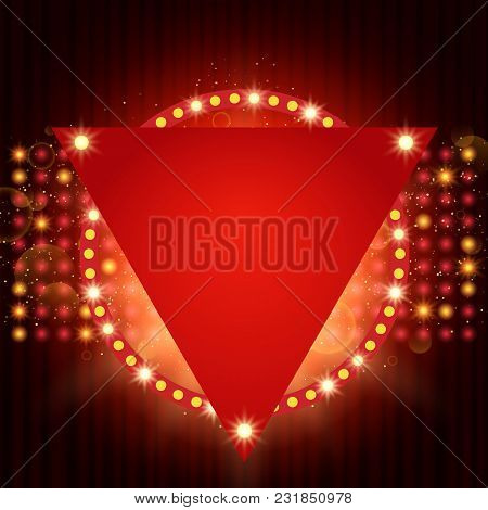 Poster Template With Retro Shine Banner.  Design For Presentation, Concert, Show