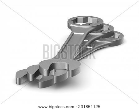 Three spanners on white background. Isolated 3D illustration
