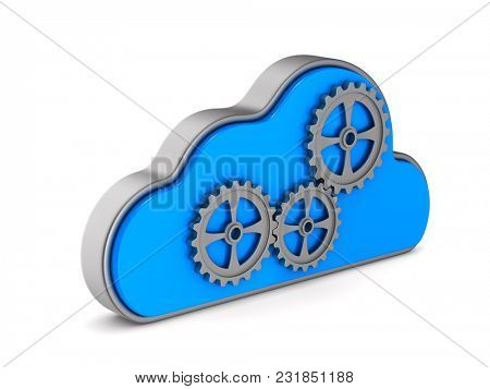 Cloud and gear on white background. Isolated 3D illustration