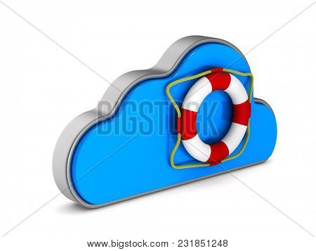 Cloud and lifebuoy on white background. Isolated 3D illustration