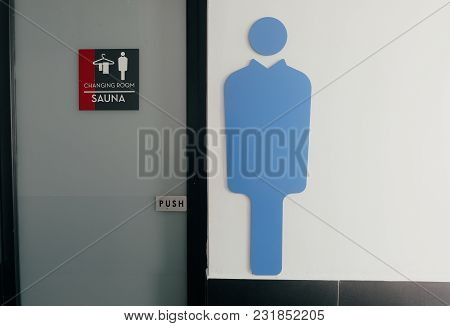 Men Changing Room And Sauna Direction At Public Swimming Pool