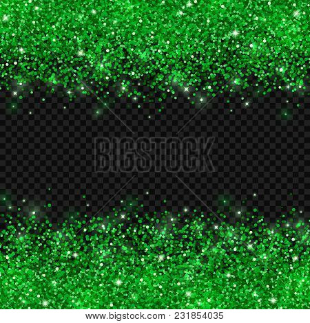 Green Glitter On Dark Transparent Background. Vector Illustration