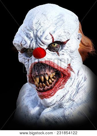 Portrait Of An Evil Looking Clown, 3d Rendering. Black Background.