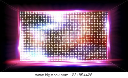 Screen Led Vector. Display, Projection Stadium Stage Illustration