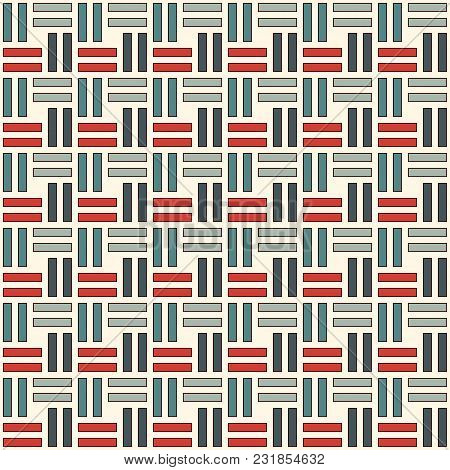 Wicker Seamless Pattern. Basket Weave Motif. Pastel Colors Geometric Abstract Background With Overla