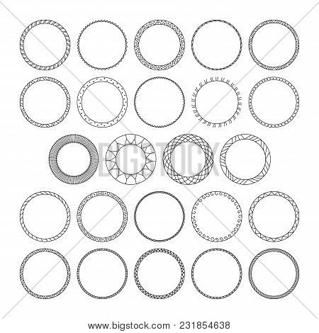 Vector Set Of Round And Circular Decorative Patterns For Design Frameworks And Banners. Black Geomet