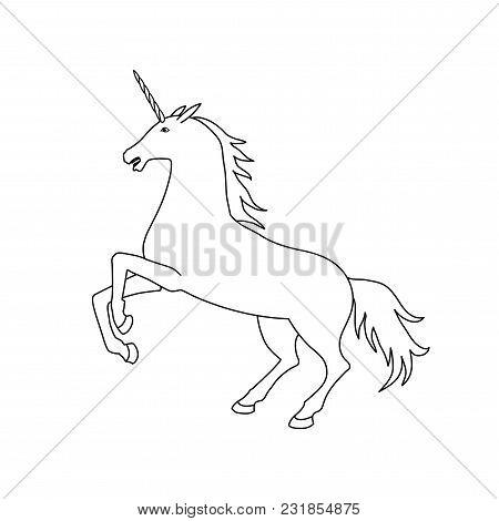 Vector Illustration Of Unicorn. Black And White Unicorn Contour. Coloring Page Book
