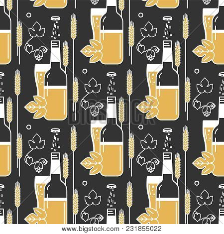 Beer, Bottle, Glass, Wheat, Hops. Vector Pattern In A Modern Linear Style.illustration For The Brewe