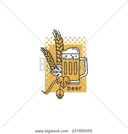 A Mug Of Beer, Hops And Wheat. Linear Icon. Sign, Symbol, Emblem, Label, Logo For Brewery, Beer Rest