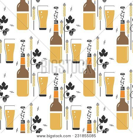 Beer, Bottle, Glass, Wheat, Hops. Vector Seamless Pattern In A Modern Linear Style. Illustrations Fo
