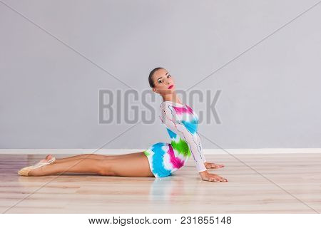 Professional Gymnast Woman Or Circus Actor Is Training Skills
