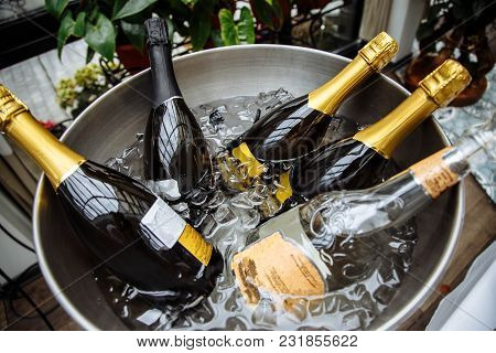 Bottles Of Champagne With Ice. Chilled Drinks.
