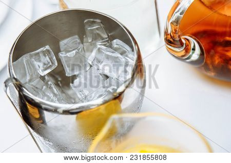 Ice Cubes In A Metal Bowl. Drinks