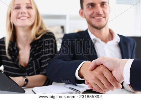 Smiling Arab Man In Suit Shake Hands As Hello In Office Portrait. Friend Welcome Mediation Offer Pos
