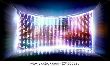 Screen Led Vector. Light Board. Cinema Panel Illustration