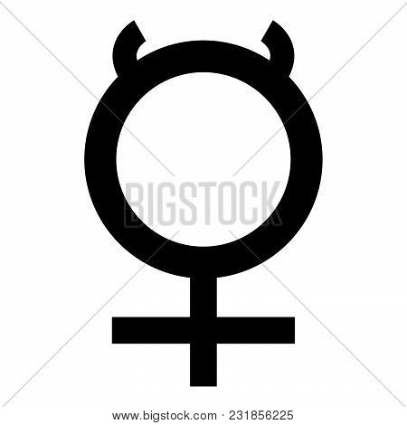 Mercury Symbol Icon Black Color Vector Illustration Flat Style Simple Image