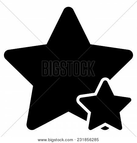 Two Star Best Of The Best Icon Black Color Vector Illustration Flat Style Simple Image