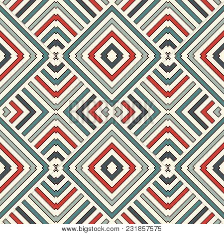 Wicker Seamless Pattern With Geometric Ornament. Pastel Colors Abstract Background With Overlapping