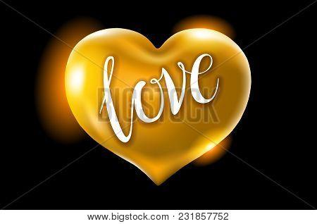 Big Golden Heart On A Black Background. Vector Celebration Balloons Glitters. 3D Illustration Design