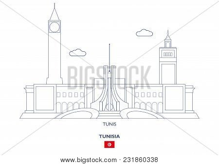 Tunis Linear City Skyline, Tunisia. Famous Places