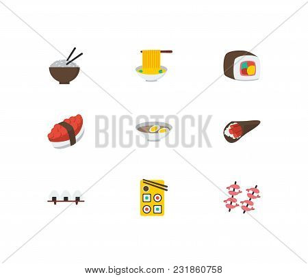 Nutrition Icons Set. Tako Maki And Nutrition Icons With Rice Ball, Temaki And Shrimp. Set Of Element