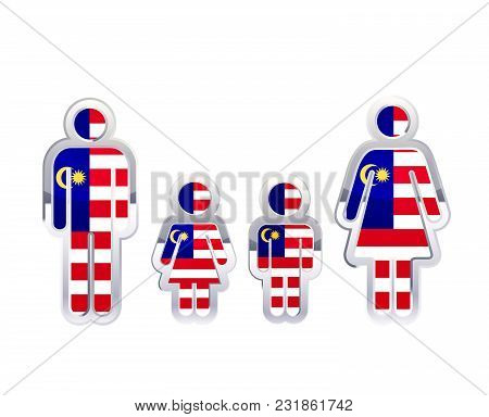 Glossy Metal Badge Icon In Man, Woman And Childrens Shapes With Malaysia Flag, Infographic Element I