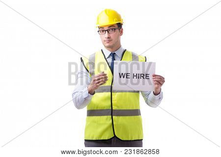 Construction supervisor in recrtuiment concept isolated on white