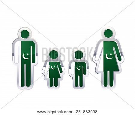 Glossy Metal Badge Icon In Man, Woman And Childrens Shapes With Pakistan Flag, Infographic Element I