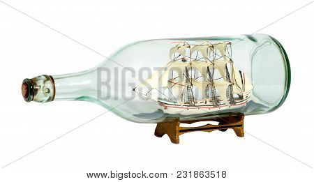 Model Sailing Ship In A Glass Bottle