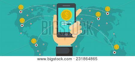 Sending Money Banner. Flat Illustration Of Sending Money Vector Banner For Web