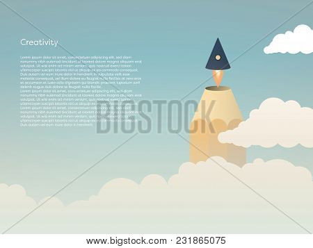 Creativity Vector Concept With Pencil Tip Flying Off As Rocket Above Clouds Into The Sky. Symbol Of