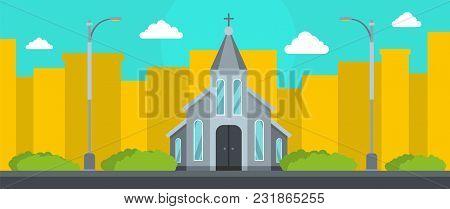 Western Church Banner. Flat Illustration Of Western Church Vector Banner For Web