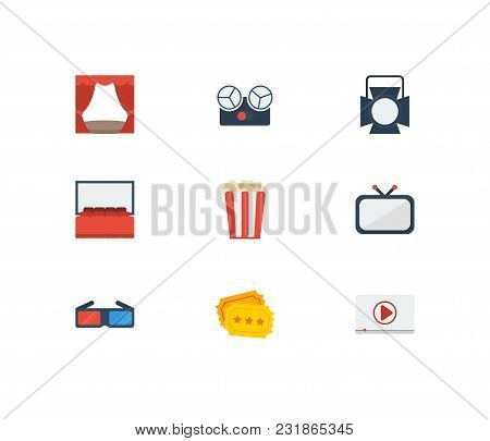 Movie Icons Set With Theater Curtain, Cinema Tape And Television. Set Of Movie Icons Also Including