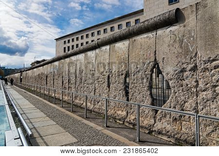 Berlin, Germany - April 19, 2017: Part Of The Infamous Berlin Wall At The Topography Of Terror, An O