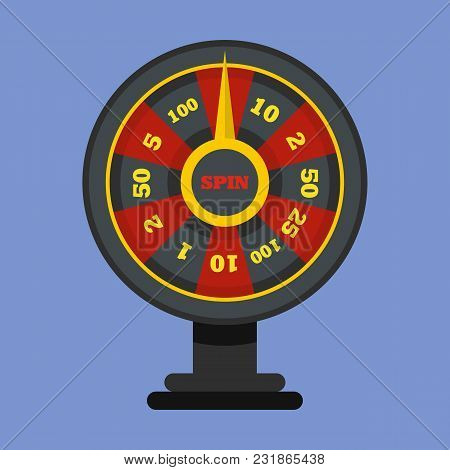 Roulette Wheel Icon. Flat Illustration Of Roulette Wheel Vector Icon For Web