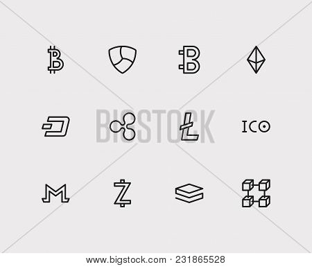 Crypto Currency Icons Set With Ico Token, Litecoin And Digital Money. Set Of Crypto Currency Icons A