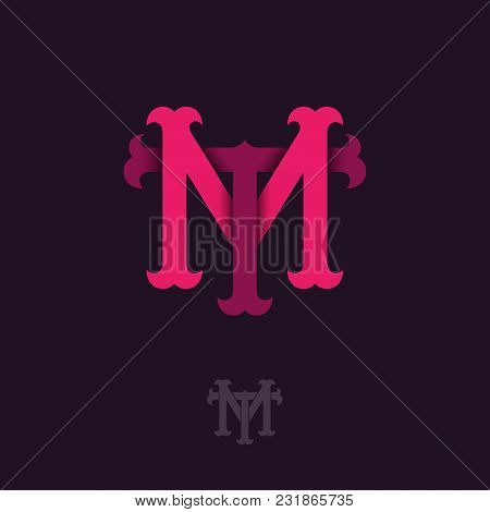 M And T Monogram. M And T Crossed Letters, Intertwined Letters Initials.