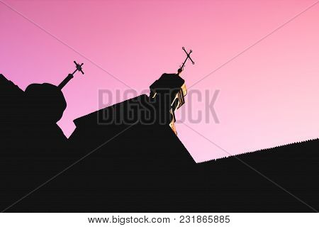 Black Silhouette Of Wooden Church With Domes And Crosses On Red And Purple Clear Sky Background, Con