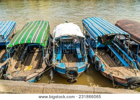 Vietnamese Boats On Mekong River In My Tho, Vietnam.