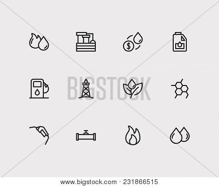 Energy Icons Set With Oil Pipeline, Oil Drop And Gasoline Pump Nozzle. Set Of Energy Icons Also Incl