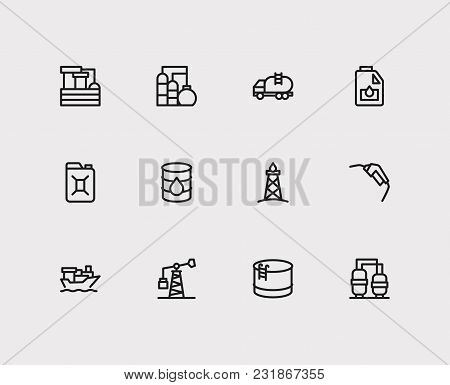 Oil Warehouse And Gas Icons Set With Tanker Ship, Oil Gas Industry And Oil Water Factory. Set Of Gas