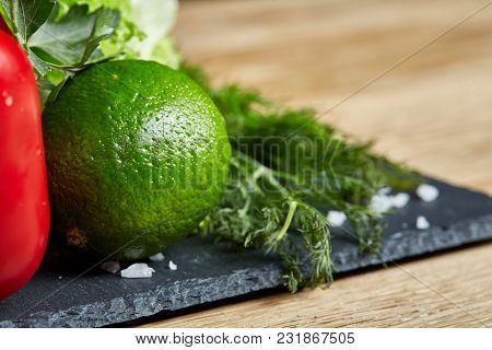 Organic Seasoning Close-up Still Life Of Assorted Fresh Vegetables And Herbs On White Textured Backg