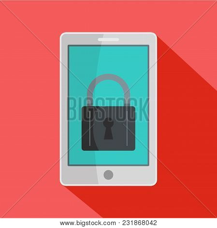 Locked Phone Icon. Flat Illustration Of Locked Phone Vector Icon For Web