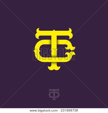 T And C Monogram. T And C Crossed Letters, Intertwined Letters Initials.
