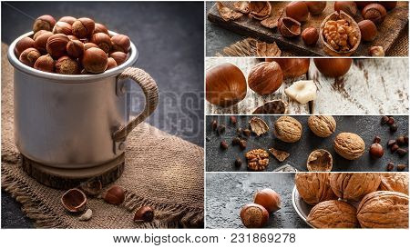 Nuts Collage, Different Colorful Nuts Backgrounds. Healthy Food Concept. Collection Of Of Nuts