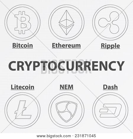 Set Of 6 Crypto Currency Lineart Icon. Linear Bitcoin Cash, Ethereum, Ripple, Litecoin, Nem And Dash