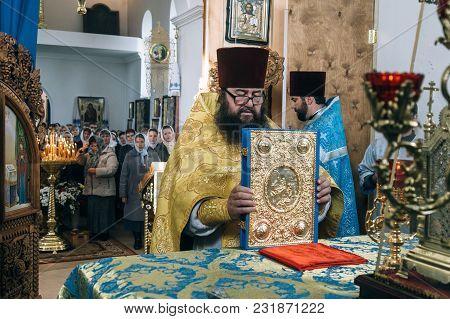 Voyutyn, Volyn / Ukraine - October 14 2017: Orthodox Priest During Celebration Pokrov